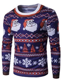 5a835c7a0 Round Neck Father Christmas and Snowflake Pattern Men Tshirt 6976