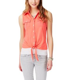 Solid Tie-Front Tank from Aeropostale
