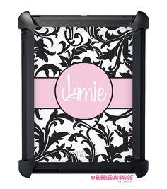 #Personalized Swirl Black White Light Pink Monogram #OtterBox iPad DEFENDER Case - 2 3 4 Air New - WORLDS FIRST Custom initials  iselltshirts