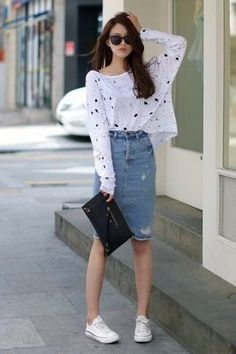White-And-Black-Long-Sleeve-T-Shirt-Blue-Pencil-Skirt-White-Low-Top-Sneakers