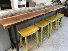 Sofa Table Home Bar Top Table Live Edge Bar Table Black Walnut Natural Edge Slab Rustic Industrial Farmhouse Modern Steel Legs by StocktonHeritage on Etsy Live Edge Bar, Live Edge Table, Bar Top Tables, Table Sofa, Console Table, Bar Table Behind Couch, Dining Sofa, Dining Tables, Wood Table