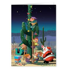 Who said you need a Christmas tree to celebrate the holidays!  There is nothing more beautiful than a saguaro cactus decorated in lights against the stunning desert sky!  Merry Christmas Card!  Santa in the desert decorating the Christmas Cactus!
