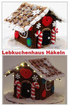 Lebkuchenhaus, Gingerbreadhouse, Häkeln,Anleitung, mit Licht,
