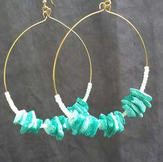 Teal Seashell Hoop Earrings by ArtByTrista on Etsy, $6.00