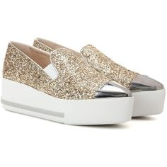 Miu Miu Glitter Platform Slip-on Sneakers (€650) ❤ liked on Polyvore featuring shoes, sneakers, gold, glitter sneakers, platform slip on shoes, platform slip on sneakers, gold slip on sneakers and glitter platform sneakers