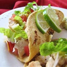 Lime Chicken Soft Tacos Allrecipes.com Substitute fresh cilantro for the oregano, same amount. Also, regular onion is as good as green onion