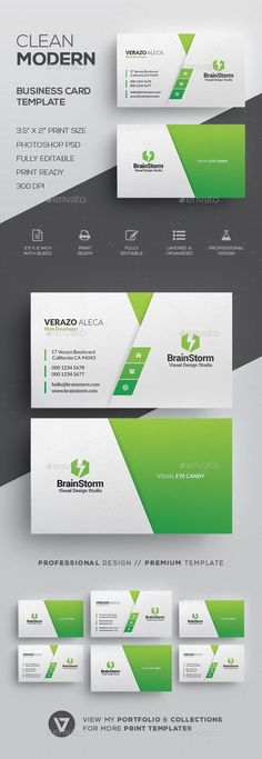 Clean Modern Business Card Template by verazo Need more high quality business card? View my Business Card Templates Collection OR Save Money! Buy Business Card Bundle for only #UniqueBusinessCards