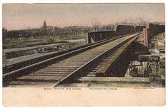 Railroad Bridge Fairbury Nebraska Vintage 1910s Hand Colored Postcard 1912 Cancel