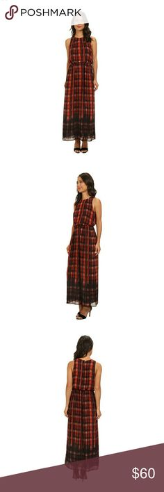 Vince Camuto Plaid Filters Maxi Poppy Dress XS NWT Vince Camuto Plaid Dress XS NWT in color poppy. Dress flaunts an all over plaid pattern on a breezy fabrication. High round neckline. Sleeveless design. Keyhole with button closure at back. Elastic waist. Straight hemline. Fully lined.100% polyester. Length: 55 inches from top of shoulder down. Smoke and pet free home. Vince Camuto Dresses Maxi