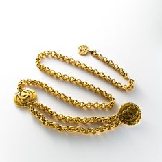 #Chanel gold tone #chain #belt. Available at lxrco.com for $649