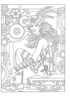 Adult Coloring Pages Books Steampunk Trendgraphy Doodle Invasion Zifflins
