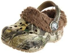 Crocs Littles Mammoth Realtreet Fuzzy Clog (Infant/Toddler),Khaki/Chocolate,2-3 M US Infant crocs. $25.95