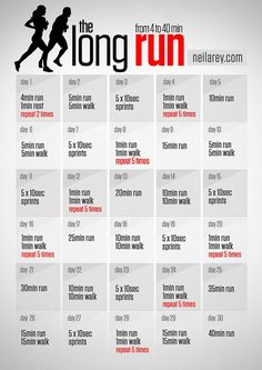 The long run program / from 4 to 40 minutes run #running #fitness How To Run Longer, Running Tips, Pnf Stretching, Easy Workouts, Weight Loss Plans, Sleep Apnea Remedies, Cooking, Health Fitness, Cats