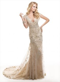 Can I wear this just because and NOT as a wedding dress? Tuscany - by Maggie Sottero :: art deco great gatsby wedding dress Gatsby Wedding Dress, Great Gatsby Wedding, Maggie Sottero Wedding Dresses, Wedding Dress Sizes, Mod Wedding, Wedding Attire, Lace Wedding, Champagne Wedding Dresses, Perfect Wedding