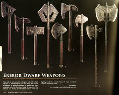 Erebor dwarf weapons by WETA Workshop. Interesting animal shapes of ravens, rams, elephants and boars.