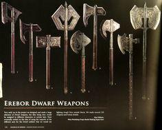 Erebor dwarf weapons by WETA Workshop. Interesting animal shapes of ravens, rams, elephants and boars.