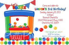 BOUNCE party invitation  with photo or by PrettyPartyCreations, $11.50