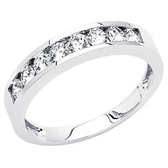 14K White Gold High Polish Finish Round-cut Channel Set Top Quality Shines CZ Cubic Zirconia Ladies Wedding Band Ring