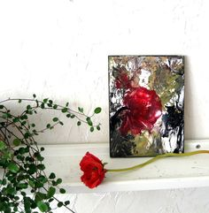 Encaustic Painting Small Abstract Floral ivory by StudioSabine