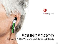 SoundsGood- a hearing aid design by Peiqi Tang, via Behance, a hearing aid that is designed to give feedback to the speaker, making it their job to communicate appropriately