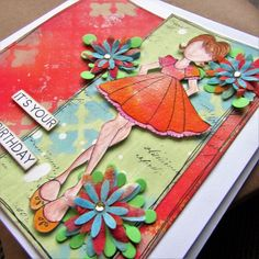 Gemma Crafts : Sharing a birthday card made using PaperArtsy paints and Dylusions Sprays Homemade Birthday Cards, Homemade Cards, Prima Doll Stamps, Different Textures, Stenciling, Young Women, Paper Dolls, Paper Flowers, Girl Birthday