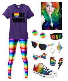 """Rainbow"" by cora-mccutcheon ❤ liked on Polyvore featuring Betsey Johnson, Converse, Retrò, love, rainbow, lgbt, lgbtq and lovewins"