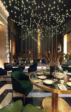 Bar Interior Design, Cafe Interior, Cafe Design, Modern Restaurant Design, Luxury Restaurant, Art Restaurant, Restaurant Lighting, Restaurant Tables, Art Deco Hotel