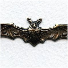 """Bats in Flight Oxidized Brass Stampings 4.75"""" - VintageJewelrySupplies.com $4 for 3"""