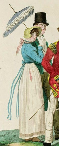 Incroyables et Merveilleuses de 1814, Back closing nat waist spencer, kerchief treatment, ribbon matching spencer, pocket slit / D a l   M