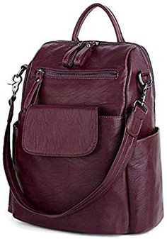 Women's Bags Backpacks Women Backpack Purse 3 ways PU Washed Leather Ladies Rucksack Shoulder Bag Brown - - July 28 2019 at Sling Backpack Purse, Leather Backpack Purse, Travel Backpack, Fashion Handbags, Fashion Bags, Fashion Backpack, Women's Fashion, Blue Bags, Gucci Bags