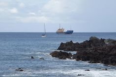 Rapa Nui / Easter Island / Isla de Pascua. Boats sheltering from a storm off the southwest coast of the Island. Photo: Mike Seager Thomas, UCL Rapa Nui Landscapes of Construction Project. You are welcome to use/ circulate the photo but please credit it to the project