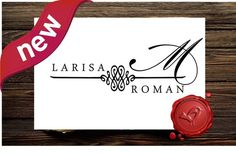 Monogram Wedding Stamp Save the Date Name Stamp Label 7016