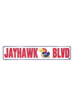 Kansas (KU) Jayhawks White Jayhawk Blvd Street Sign http://www.rallyhouse.com/shop/kansas-jayhawks-kansas-jayhawks-jayhawk-blvd-sign-1254014 $12.95