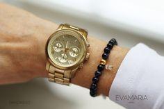Armbänder - Armband mit Natursteinperlen und vergoldeten Perle - ein Designerstück von evamariajewelry bei DaWanda
