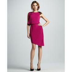 Women's Halston Heritage Pleated Asymmetric Dress ($395) ❤ liked on Polyvore