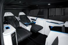 The new Brabus Business Lounge includes comfortable VIP seating, inductive phone charging and folding tables Mercedes Brabus, Benz Sprinter, Private Jet, Cool Cars, Car Seats, Automobile, Lounge, Technology, Luxury
