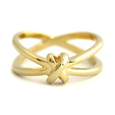 Gold X Knot Ring by SilverStella