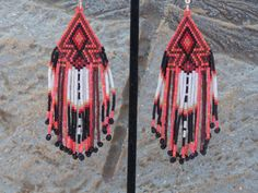 Cherokee Beaded Arrowhead Earrings In The Colors of Sunset Orange With a Splash of Deep Metallic Copper by LJ Greywolf These Native American Beaded Earrings with my new arrowhead design are beaded wit