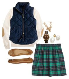 """plaid and a vest"" by the-southern-prep ❤ liked on Polyvore featuring J.Crew, Tory Burch, MICHAEL Michael Kors and Wildfox"