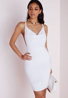 Slinky Cowl Front Bodycon Dress White