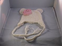 Crochet Korner Crochet White Bear Hat With Flower by CrochetKorner, $15.00