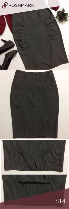 "✨SALE✨Wet Seal Pin Stripe Pencil Skirt w/Ruching Cute size Medium gray pin stripe skirt with ruching down seems on legs in front. Form fitting there is a cutout in back to allow more leg movement. I do not have the belt but the skirt is more of a high waisted with the top measuring 13"" laying flat but the waist (where the belt goes)measures 15.5"" the belt loops are about 1"" perfect for a skinny belt. 23"" in length...bundle to save more plus ⚡️ normally $14 Wet Seal Skirts Pencil"