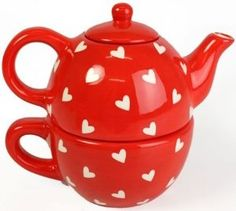 Hearts Design Tea For One - Tea Pot And Cup Set: Amazon.co.uk: Kitchen & Home