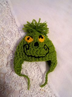 Christmas Elf clothing - The Grinch hat for Elf doll. OOAK