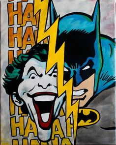 Classic Batman & Joker Painting by ArtofaSilentBee on Etsy, $35.00