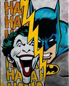 Classic Batman & Joker Painting by ArtofaSilentBee on Etsy, $35.00