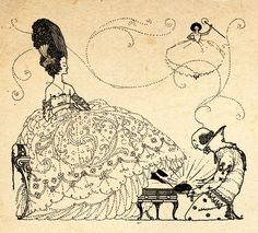 Illustration by Harry Clarke featuring Cinderella trying on the glass slipper with the fairy godmother flying in the background. From the book 'Fairy Tales of Charles Perrault – Illustrated by Harry Clarke'  available on:  http://www.amazon.com/gp/product/1445508613/ref=as_li_tl?ie=UTF8&camp=1789&creative=9325&creativeASIN=1445508613&linkCode=as2&tag=reaboo09-20&linkId=5SXH5RB4FEJBN2HE