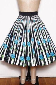 Vintage 50s rose print circle skirt / 50s striped swing skirt