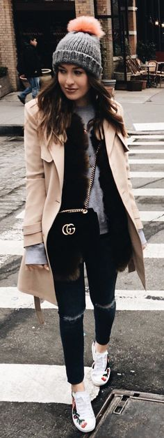 #winter #fashion /  Grey Beanie / Camel Coat / Black Ripped Skinny Jeans / White Sneakers