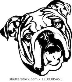 Bulldogge Tattoo, Baby English Bulldogs, Bulldog Drawing, Bulldog Breeds, Dog Silhouette, Lap Dogs, Pet Puppy, Puppies, Illustration